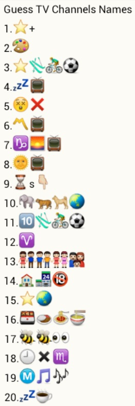 Guess TV Channel Names whatsapp puzzel