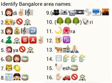 Identify bangalore area names whatsapp puzzle